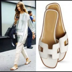 Hermes ORAN White Patent Leather Sandals Sz 36